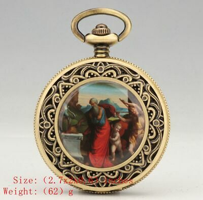 Unique Chinese Copper Pendant Pocket Watch Mechanized Handicraft Collec Gift Old