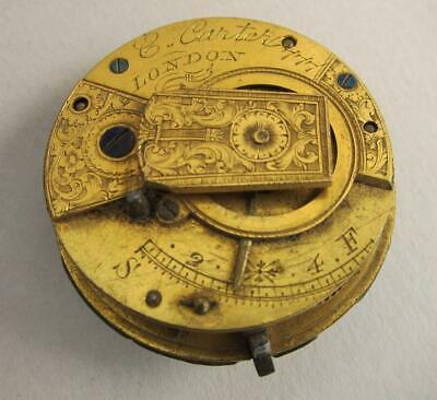 GEORGIAN ANTIQUE FUSEE VERGE POCKET WATCH MOVEMENT by C CARTER LONDON  a