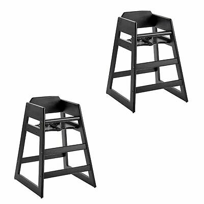 2/Pack Stackable Restaurant Wooden High Chair Seat Baby Toddler Black Finish