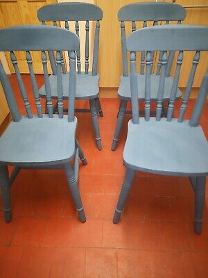 Hand Painted Solid Pine  Farmhouse Dining Chairs In Stiffkey Blue Farrow & Ball