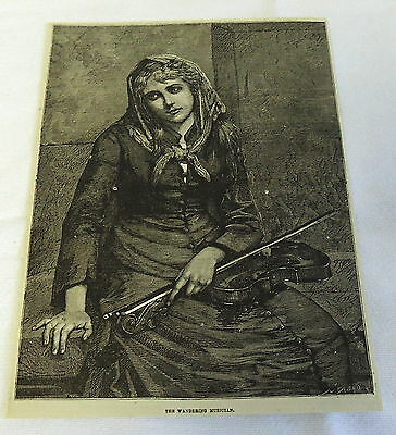 1882 magazine engraving ~ THE WANDERING MUSICIAN, woman with violin