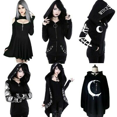 Gothic Women/'s Punk Moon Print Hooded Sweat Hoodies Jacket Coat Cosplay Q5T8