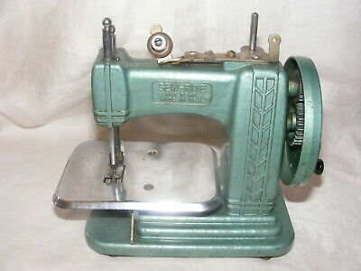Vintage Child's Toy Sewing Machine Green Sew-Rite Pat Pend Made in USA