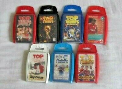 TOP TRUMPS x 7.  Inc Specials, Football, Top Gear, Superstars, Chelsea Liverpool