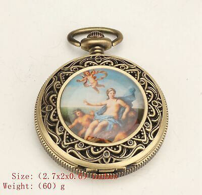 Retro China Copper Pendant Pocket Watch Old Nude Beauty Mechanized Craft Old
