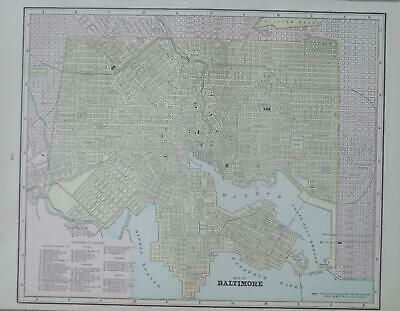 1891 Baltimore, Md. Antique Color Atlas Map** ... 129 years-old!!  Light Wear