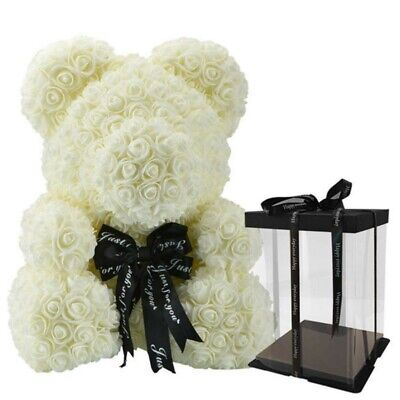 The White Rose Bear Forever Roses Artificial Valentines Day