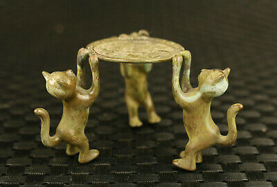 rare chinese old bronze hand casting three cat statue oil lamp table decoration