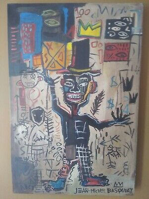 Jean Michel Basquiat Rare Unique Painting Expressive Art Signed