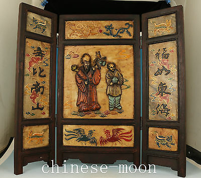 Antique chinese old shoushan stone jade wood Sage Screen Statue wall Home Deco