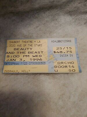 Beauty and the beast movie theater tickets Jan 3rd 1996 (Sold)shubert Theatre LA