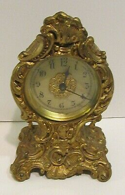 Fancy Carved Victorian Metal Clock Beveled Glass Letter F & #8 On Backside Runs!