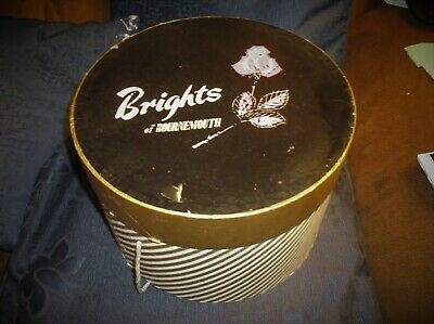 Collectable Vintage Retro Cardboard Hat Box Brights Of Bournemouth Gold Stripes
