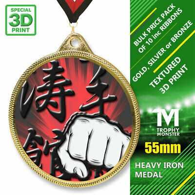 PACK OF 10 WITH RIBBONS SUPER BIG JUDO BLACK ACRYLIC MEDAL 80mm 3 PACK SIZES