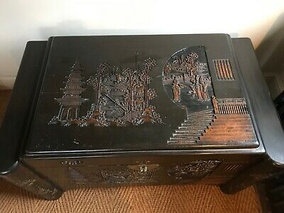 Very Large Antique Oriental Camphor Wood Chest - Good Condition