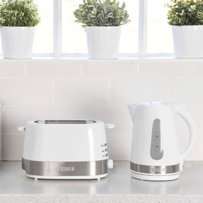 Haden White Kettle and Toaster Set with wide slots