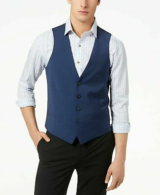 $125 Bar III Men's Slim-Fit Active Stretch Performance Suit Vest Medium Navy