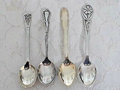 4 different vintage Swedish nickel silver coffee spoons