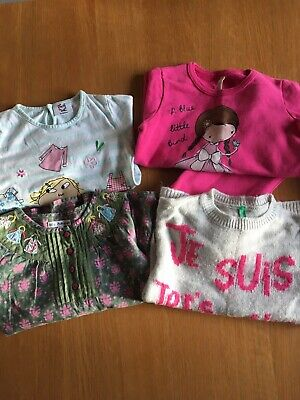 Girls Bundle 3-4 Benetton M&S Tops Jumpers Loungewear