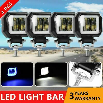 4X 3inch 20W CREE LED Work Light Bar Pods Spot Driving Lamp Halo Angle Eyes 4WD