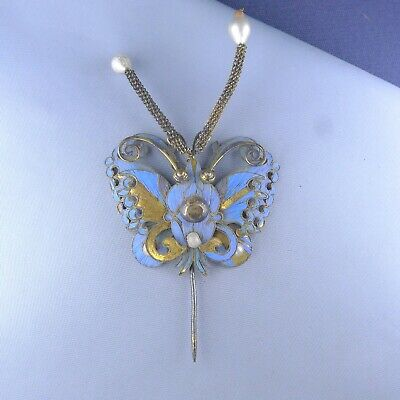 Antique Kingfisher Feather Butterfly Hair Pin / Sterling Silver Chinese Brooch