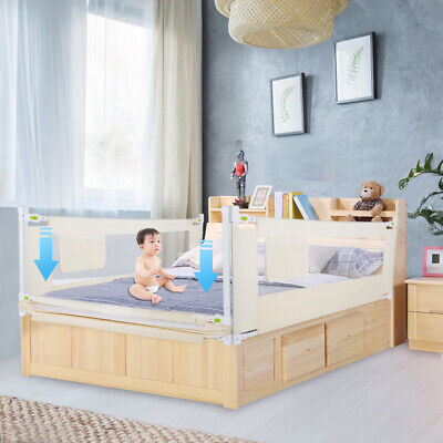 150cm Kids Bed Guard Rail Toddler Baby Safety Bedguard Folding Height Adjustable