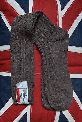 Vintage 1970's St Michael Marks Spencer Brown Cable Knit Long Socks Size UK 9-11