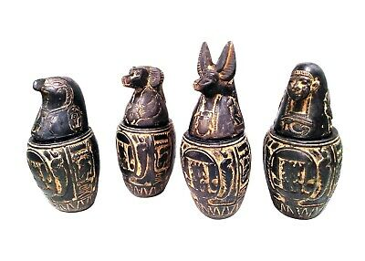 Egyptian Antique Set 4 Canopic Jar Organs Storage Carved Funerary Statues Stone