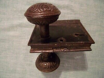 Antique Vintage Branford Cast Iron Rim Lock & Brass? Door Knobs Parts