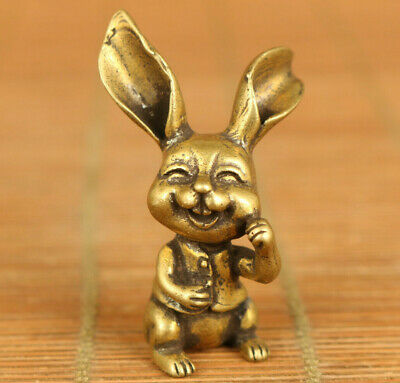 chinese old bronze Handcasting lovely rabbit statue collectable ornament gift