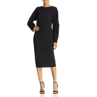 Badgley Mischka Womens Black Midi Blouson Pleated Cocktail Dress 4 BHFO 9068