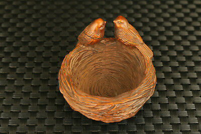 old chinese boxwood hand carved pair bird nest statue decoration collectable