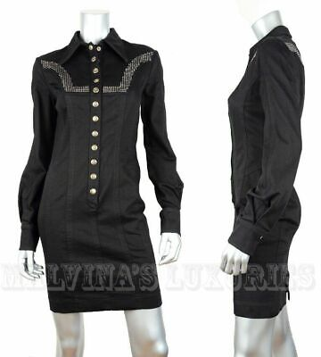 Just Cavally By Roberto Cavalli Shirt Dress Black Cotton Crystal Studs $590 42 6