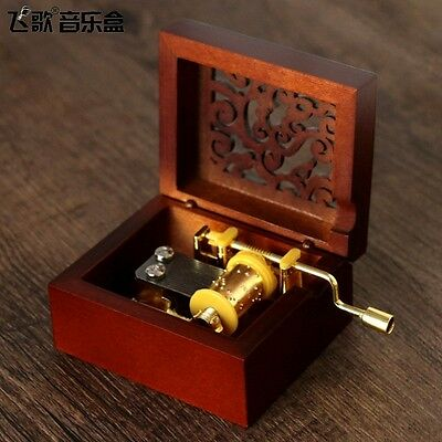 Square Wooden Carving Hand Crank Music Box  :  Harry Potter Hedwigs Theme