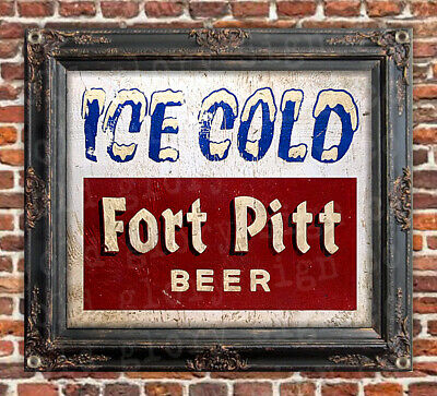 ICE COLD FORT PITT BEER sign banner ART bar restaurant PITTSBURGH vintage style