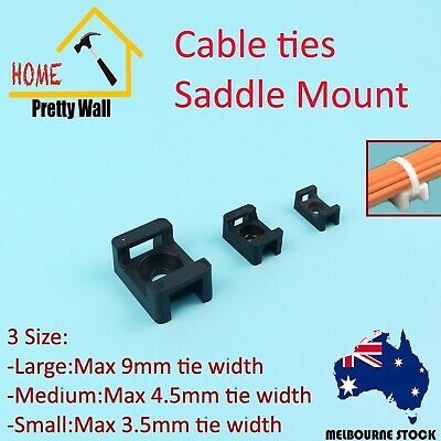 100 Pcs 3 Size Screw Fixed Cable Wire Zip Tie Mount Base Saddle Holder Plastic