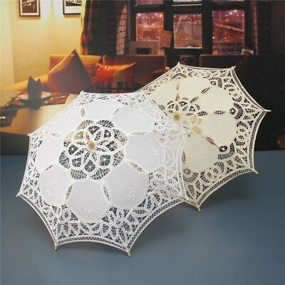Handmade Lace Parasol Umbrella White Ivory Photography Prop For Bride Kids