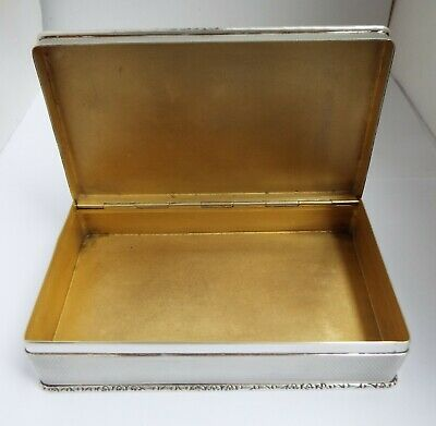 Superb V Heavy English Antique 1964 All Sterling Silver Cigarette Box Solid Lid