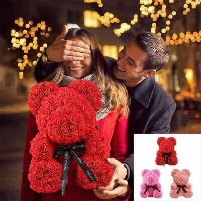 25-40cm Rose Flower Teddy Bear Toys Valentine Wedding Birthday Party Gift 2020