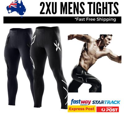 2XU Mens Compression Tights Skins Gym Sport Cycle AUSTOCK Black Silver Blue Gold