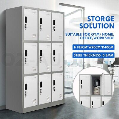 9 Doors Locker Cabinet Steel Storage Cabinet Cupboard Home Office Metal Cabinet