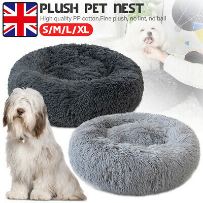 Plush Pet Dog Cat Calming Warm Bed Round Nest Comfy Sleeping Cave Lodge Kennel