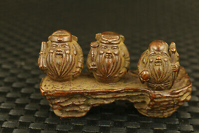 chinese old bronze three god of wealthy longevity statue figure table decoration