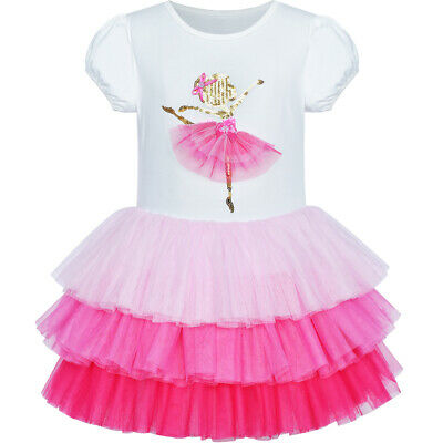 Sunny Fashion Girls Dress Pink Tutu Dancing Tiered Skirt Ballet Party Size 3-7