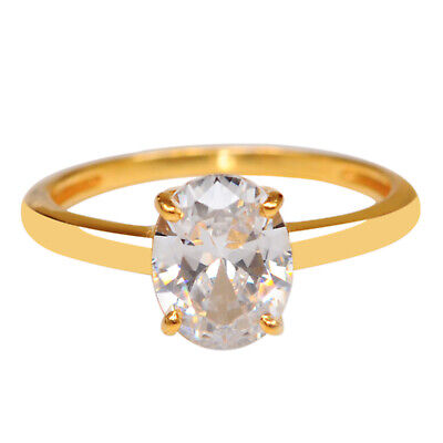D-Color 1.85 Carat Solitaire Oval Shape Women's Ring In 14KT Solid Yellow Gold