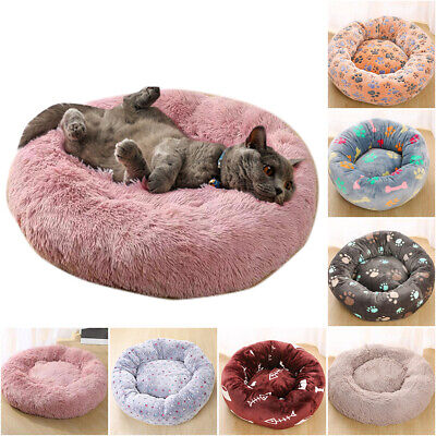 Comfy Calming Dog/Cat Bed Pet Soft Super Round Beds Beds Puppy Plush S