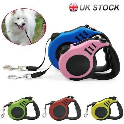 3M/5M Retractable Lead Dog Tape Leash Extendable Rope Walking Training Puppy Pet