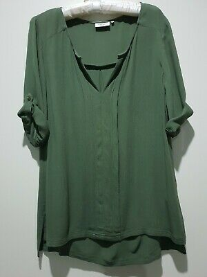 Women's Top JEANS WEST green color Size 12 100% VISCOSE used like new.