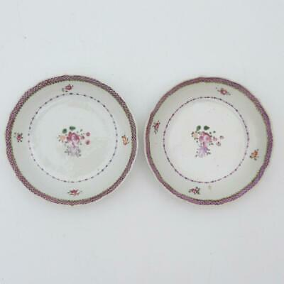 Pair Of Chinese Famille Rose Porcelain, Barbed Rim Saucers, 18Th Century