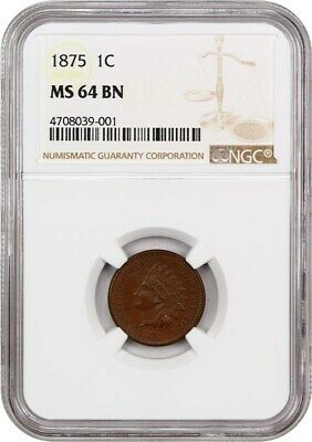 1875 1c NGC MS64 BN - Indian Cent